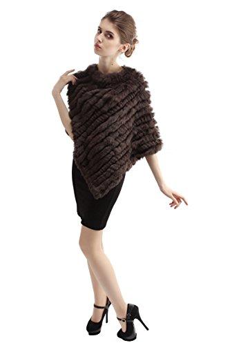 Ponchos à fourrure de lapin - Chapeau chaud à l'hiver véritable tricot fourrure Capes Coat Classic Stole Café