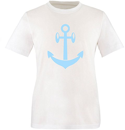EZYshirt® Anker Maritim Herren Rundhals T-Shirt Weiß/Hellblau