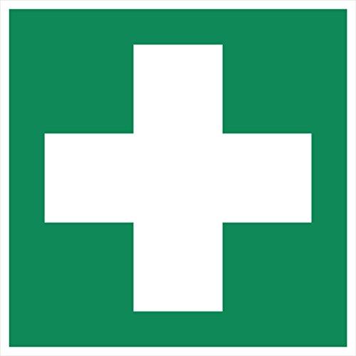 10 Erste Hilfe Aufkleber - Aufkleber Erste Hilfe vorgestanzt mit Hochglanz-Lack, selbstklebend, Verbandkasten Aufkleber, Rettungszeichen, Verbandskasten Aufkleber Rotes Kreuz erste-Hilfe grünes Kreuz