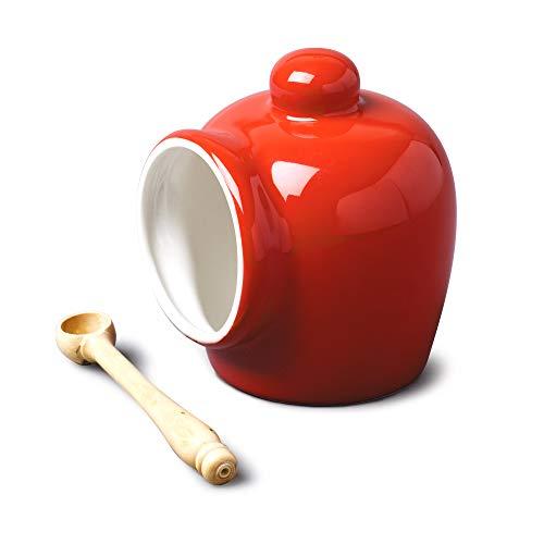 Wm Bartleet & Sons - Recipiente de porcelana, diseño tradicional, ideal para guardar la sal, Rojo...