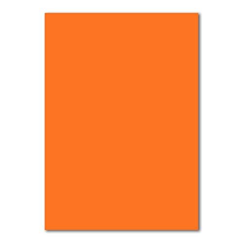 50x DIN A4 Papier Planobogen -Orange - 110 g/m² - 21 x 29,7 cm - Bastelbogen Ton-Papier Fotopapier Bastel-Papier Brief-Papier - FarbenFroh®