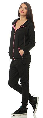 Boxusa Damen Jogginganzug Sportanzug Kapuzenpullover und Sporthose mit Reißverschluss viele Farben 100% Baumwolle (L, 777Schwarz-Pink)