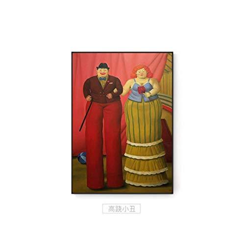 NRRTBWDHL Abstrakte Fernando Botero Stelzenläufer Clown Moderne Malerei Paar Poster drucken Bunte Wandkunst Bilder für Wohnzimmer Gang berühmt -60x80cm kein Rahmen