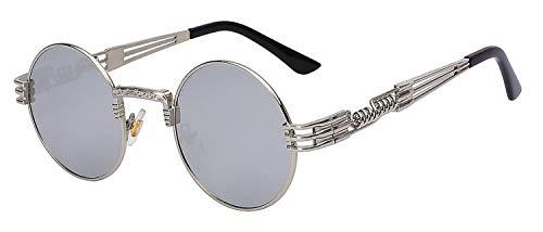 Brillen,Sonnenbrillen,Zubehör,Luxury Metal Sunglasses Men Round Sunglass Steampunk Coating Glasses Vintage Retro Lentes Oculos Of Male Sun Silver mirror lens