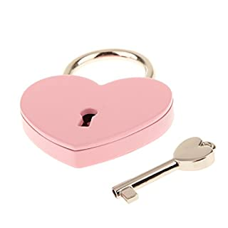 MagiDeal Vintage Personalized Heart Shape Padlock with Key Travel Locker Set - Pink L