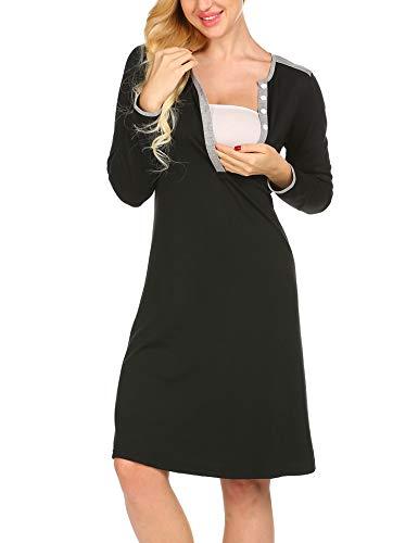 UNibelle Maternity Kleid, Damen Umstandsmode Sommerkleid Festliches Umstandskleid Schwangeren Kleider Mutterschaftskleid Nachthemd Schwangerschaft Stillkleider Schwarz - 2