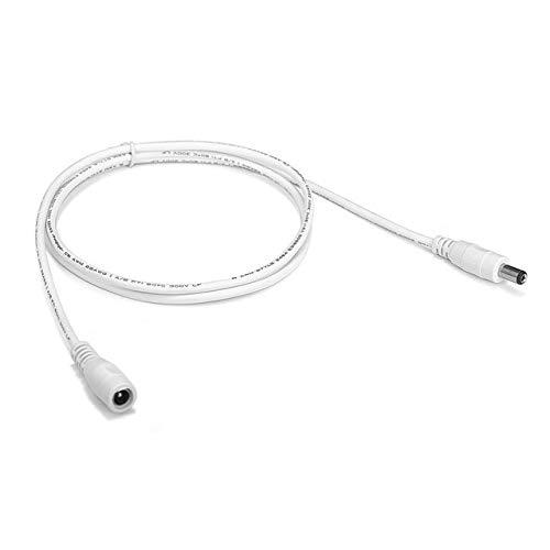 Ochoos Verlängerungskabel 5,5 mm x 2,1 mm Gleichstrom-Klinkenstecker 22 AWG 1 m für CCTV-Kamera-LED-Powerstation, weiß