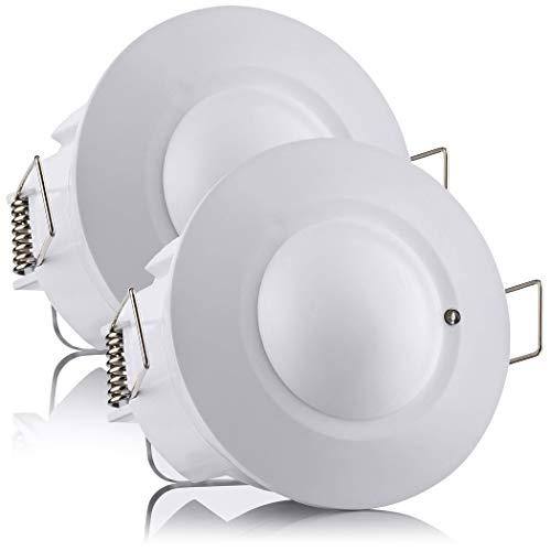 SEBSON® Bewegungsmelder Innen, Unterputz, HF Sensor LED geeignet, Decken Montage programmierbar, Bewegungssensor Reichweite 2-16m/ 360°, 2er Pack 360-sensor