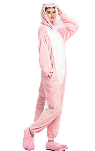 Kenmont Jumpsuit Tier Cartoon Einhorn Pyjama Overall Kostüm Sleepsuit Cosplay Animal Sleepwear für Kinder / Erwachsene (Medium, Rosa Dinosaurier)