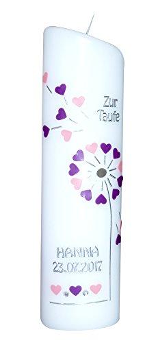 Ovale Taufkerze mit Name, Taufdatum - Zur Taufe - Pusteblume mit Herzen - rosa/brombeer