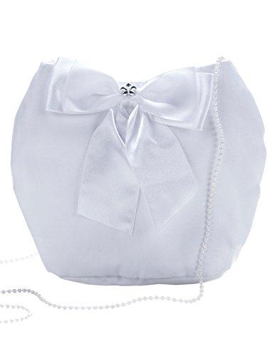 Princess Taufkleid Brautbeutel aus Satin in Weiß und Ivory Weiß/aufgesetzte Blume