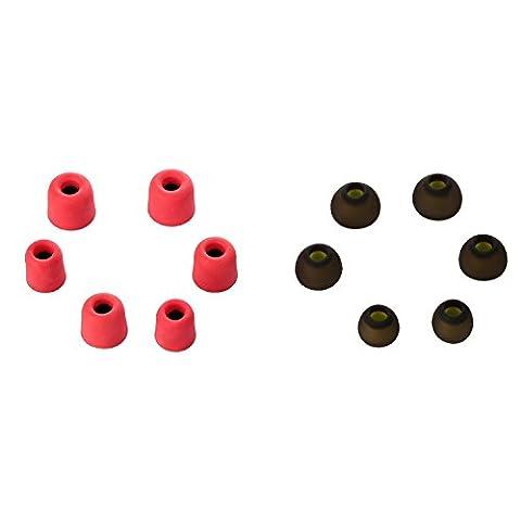 Fourheart Embouts auriculaires rebond en mousse à mémoire Conseils Embouts en silicone anti-bruit Coussinets de remplacement pour tous les modèles Écouteurs intra-auriculaires (compatible avec 4Mm-5.5mm Diamètre buses, 6paires)