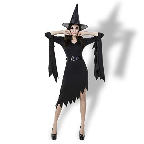 (Top ShishangErotisches Kostüm Halloween Kostüm Siamesischer Rock Rollenspiel Hexenrock, schwarz XL)