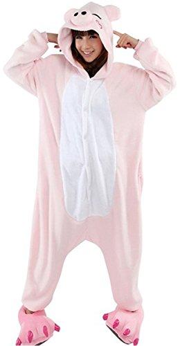 Exterieur Haut d'hiver chaude en flanelle pyjama une piece unisexe pour adulte pyjama Pikachu Pink Pig