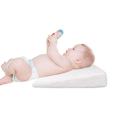 L&LQ Keil-Kinderbett, Baby-Schlaf-Kissen Keil Reflux Kissen Bett Keil Anti-Reflux Und Kolik Staus Mit Memory-Foam -