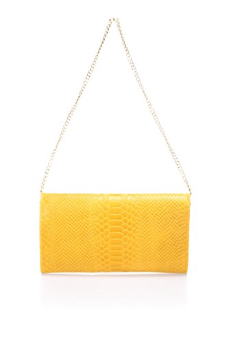 "Show Some Love ""Diletta"" Italienische Damen-Handtasche Clutch Echt-Leder made in Italy Yellow"