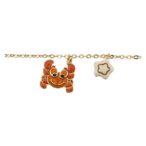THUN ® - Bracciale Segno zodiacale Cancro - placcato in Oro con Ciondolo in Ceramica -16 cm (+2 cm)