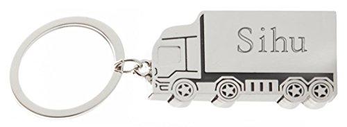 SHOPZEUS gravierter Metall Lkw Schlüsselanhänger mit Aufschrift Sihu (Vorname/Zuname/Spitzname)