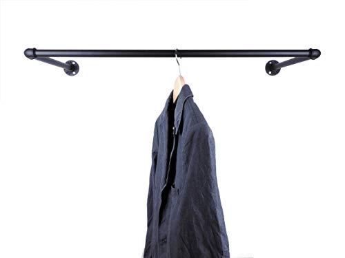 Garderobe Schwarz Metall, Breite 60, 90 oder 110cm, für Kleiderbügel, Wandbefestigung im Industrial Design Wandgarderobe Kleiderstange -