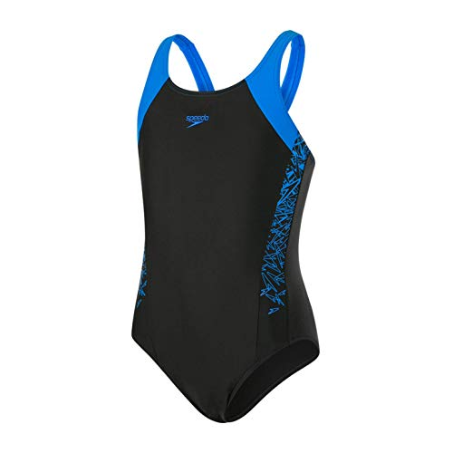 Speedo Mädchen Boom Splice Muscleback Badeanzug, Black/Brilliant Blue, 30 (Age (Schwimmen Kostüm Mädchen Speedo)
