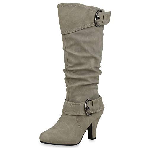 SCARPE VITA Elegante Damen Stiefel Warm Gefütterte Winter Boots Schuhe165425 Hellgrau 37
