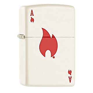 Zippo Ace And Flame Windproof Pocket Lighter - White Matte
