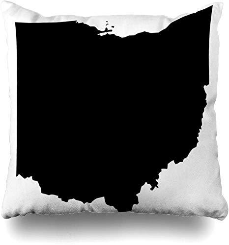 Dekokissenbezüge Quadrat Umriss Hoch Detaillierte Karte Ohio