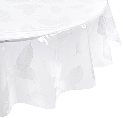 DecorLine Nappe Cristal Imprimé Feuille Blanc 140 cm