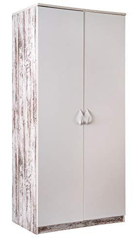 Enrico coveri contemporary armadio multiuso e salvaspazio con 2 ante in legno e metallo, guardaroba ampio con ripiano interno e appendiabiti (rovere bianco)