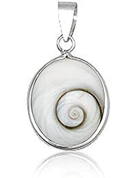 EYS JEWELRY® Damen-Anhänger Oval 20 x 14 mm Shiva Auge Muschel 925 Sterling Silber weiß im Etui Damenanhänger