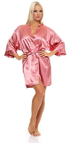 AE Damen Morgenmantel kurzer Kimono aus Satin-Optik in 23 Farben Bademantel Nachtwäsche Nachtmantel Seidenrobe Gr. S-2XL Rosa M
