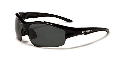 Neue xloop AURORA Polarisierte Sonnenbrillen Sport Wrap Erwachsener Mittel (schwarzer Rahmen grau Objektiv)