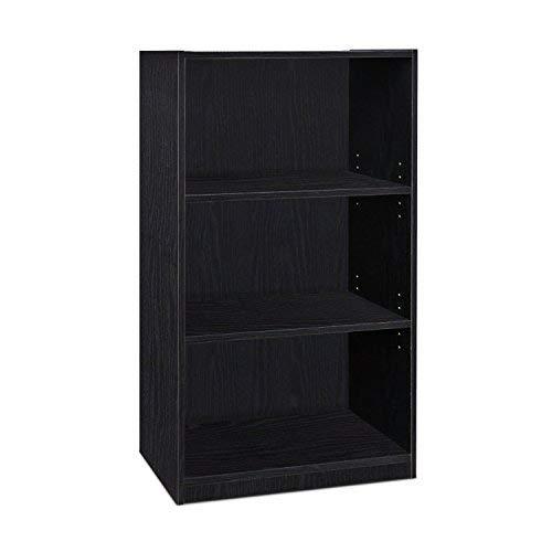 Furinno Laptoptisch Jaya einfach Home 5-Shelf Bücherregal, weiß, Holz, schwarz, 3-Tier -