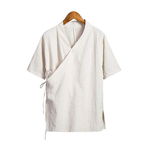 Interact China À la Mode à la Main Vêtements de Loisirs en Lin Coton Noir pour Homme Manches Courtes #105