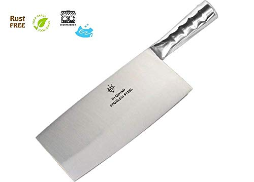 """KODENIPR CLUB Aurum Creations Big Vegetable Meat Cutter Cleaver Chopping Knife Chef Butcher Multipurpose Use for Home Kitchen or Restaurant 8''/3.5"""" (Steel Handle)"""