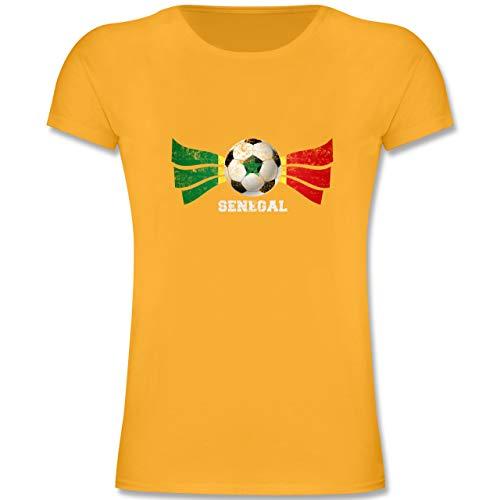 Fußball-Europameisterschaft 2020 Kinder - Senegal Fußball Vintage - 116 (5-6 Jahre) - Gelb - F131K - Mädchen Kinder T-Shirt