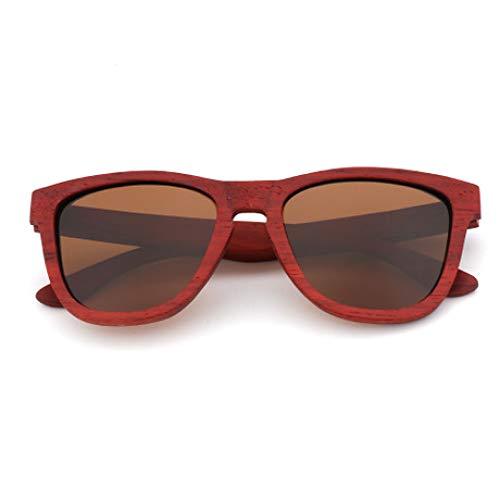 PZXY Holz Sonnenbrillen Rote Birne Holzrahmen Persönlichkeit Outdoor Polarisierte UV-Schutzbrille für Männer und Fraue