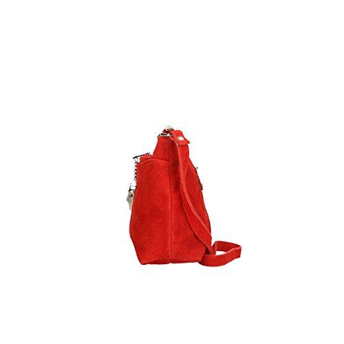 Chicca Borse Borsa a tracolla in pelle 29x17x8 100% Genuine Leather Rosso