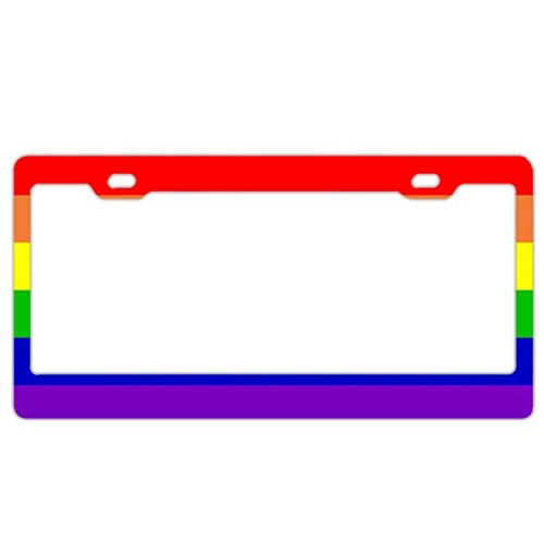 Superlicenseframe Schwarze Nummernschildrahmen mit 2 Löchern aus Aluminium und Metall für Kfz-Nummernschildabdeckungen mit Schraubenkappen für US-Standard, Lesbian Rainbow