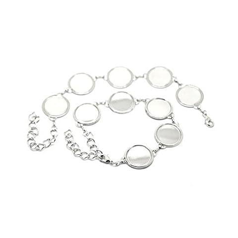 Creafirm - 2 bracelets argent 5 supports cabochons 18mm