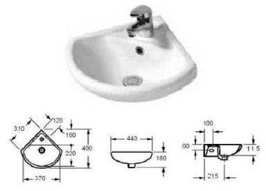 Lavabo - Lavamani ad angolo in ceramica lati 31x31 cm. ipotenusa 43 cm. raggio 40 cm. con foro centrale
