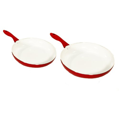 Heuck 30131 Classics Series Nano 2-Piece Ceramic Nonstick Skillet Set, 10-Inch and 12-Inch, Red by Heuck -