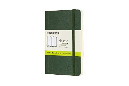 Moleskine 8058647629155 - Taccuino collezione classica Pocket/A6, fogli bianchi, copertina morbida verde mirtillo