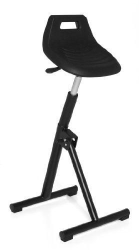 hjh OFFICE 665150 Stehhilfe Arbeitsstuhl TOP WORK 31 schwarz chrom, rutschfester Hartschaum, leicht zu reinigen, pflegeleichter Sitz, wertig verarbeitet, ohne Armlehnen, Küchenstuhl (Klappbar Top)