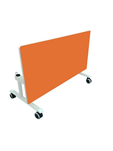 Mobeduc Adulte côté Fixe Table Pliante, métal, Orange, 140 x 60 x 71 cm