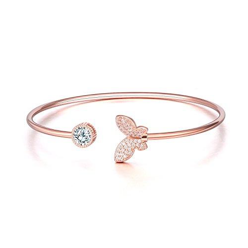 WINNICACA Justierbare Schmetterlings-Manschettenarmbänder für Frauen 18k Rose Gold überzogener Kristallarmband-Armbänder für jugendlich Mädchen-Modeschmuck-Weihnachtsgeburtstags-Freundschaftsgeschenke (Armband Schmetterling Gold)