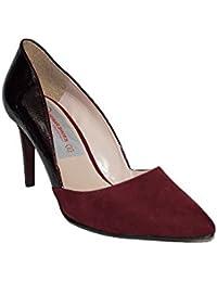Tacón 39 Amazon es De Mujer Zapatos Burdeos f61qwBZ