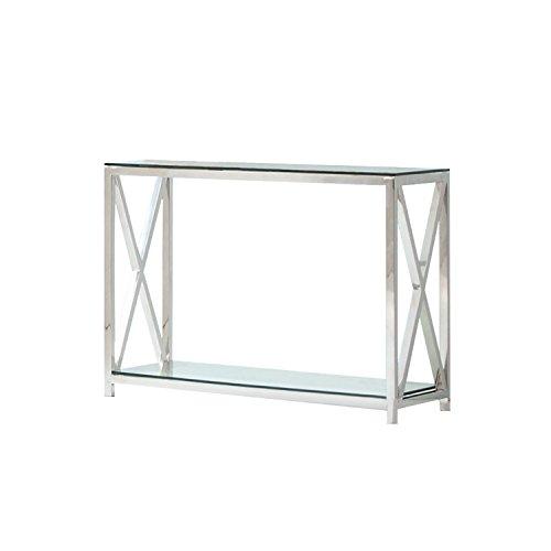 Loberon Konsole Dartford, Edelstahl/Glas, H/B/T ca. 70/90 / 40 cm, Silber/klar (Eisen Konsole Tisch Holz Und)