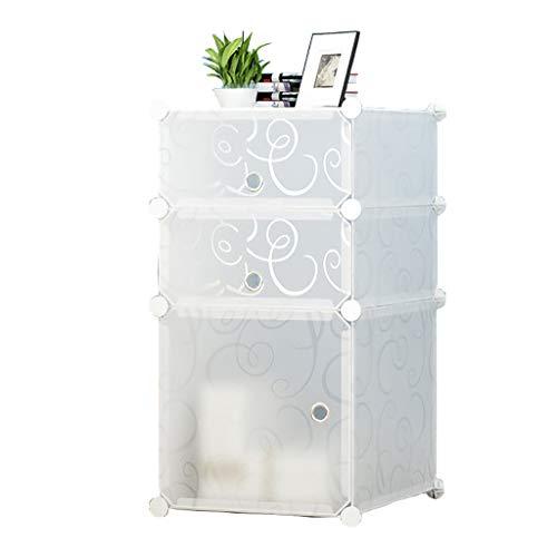 Tragbare Nachttisch Nachttisch Schrank Tischaufbewahrung Organizer, Cubes DIY Lagerung Bücherregal Regal Körbe Modular Boxen Verriegelung Kunststoff Modulare Schrank mit Tür für Schlafzimmer Weiß -