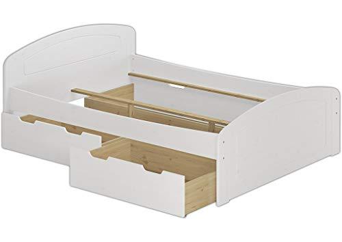 Doppelbett + 3 Bettkasten 200x200 Seniorenbett Ehebett Massivholz Kiefer waschweiß 60.50-20 W oR